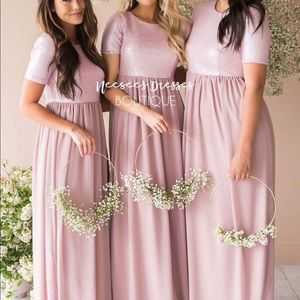 The Elsa In Dusty Pink Sparkly A Line Dress Maxi